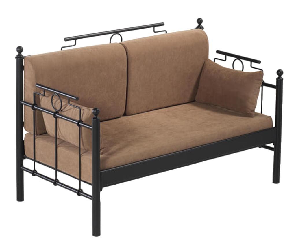 Canapea 2 locuri pentru exterior Hatkus Black and Brown