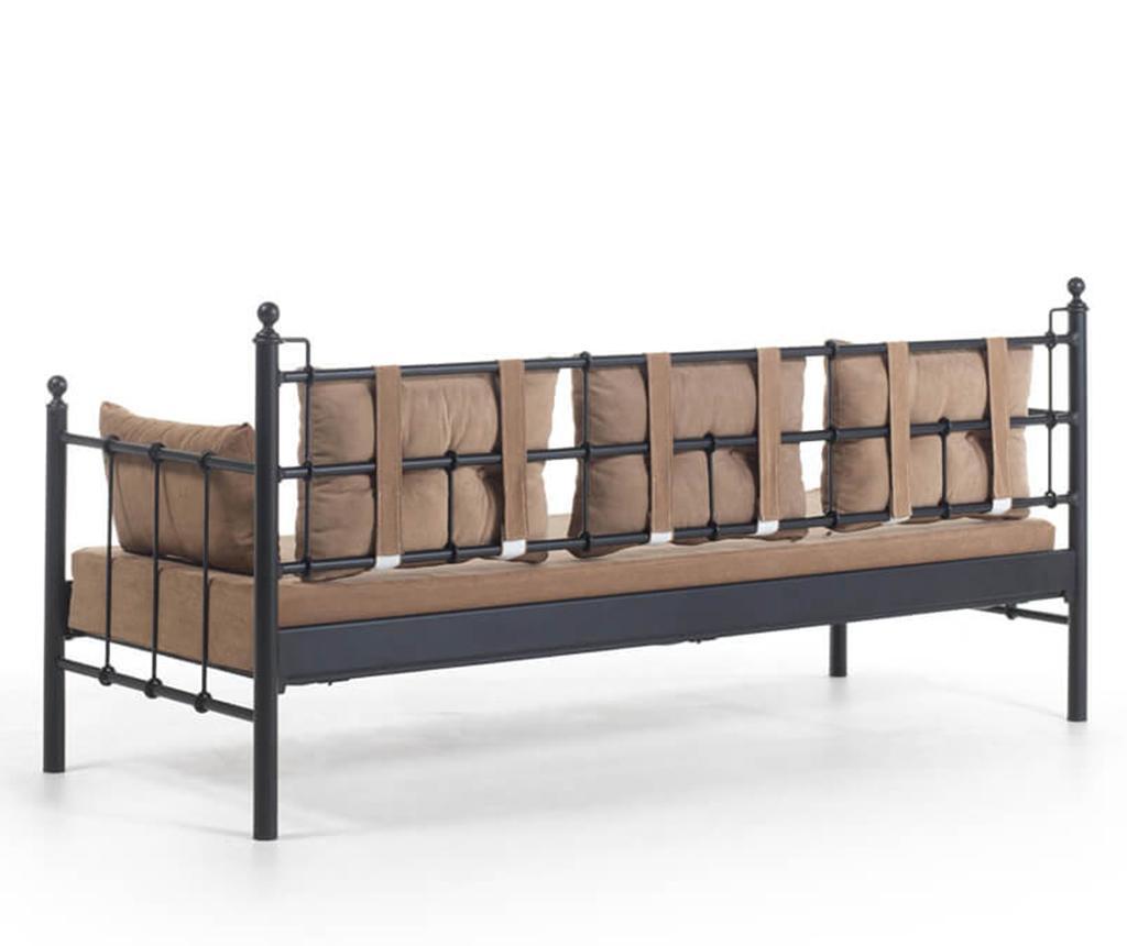 Canapea 3 locuri pentru exterior Lalas Wide Black and Brown