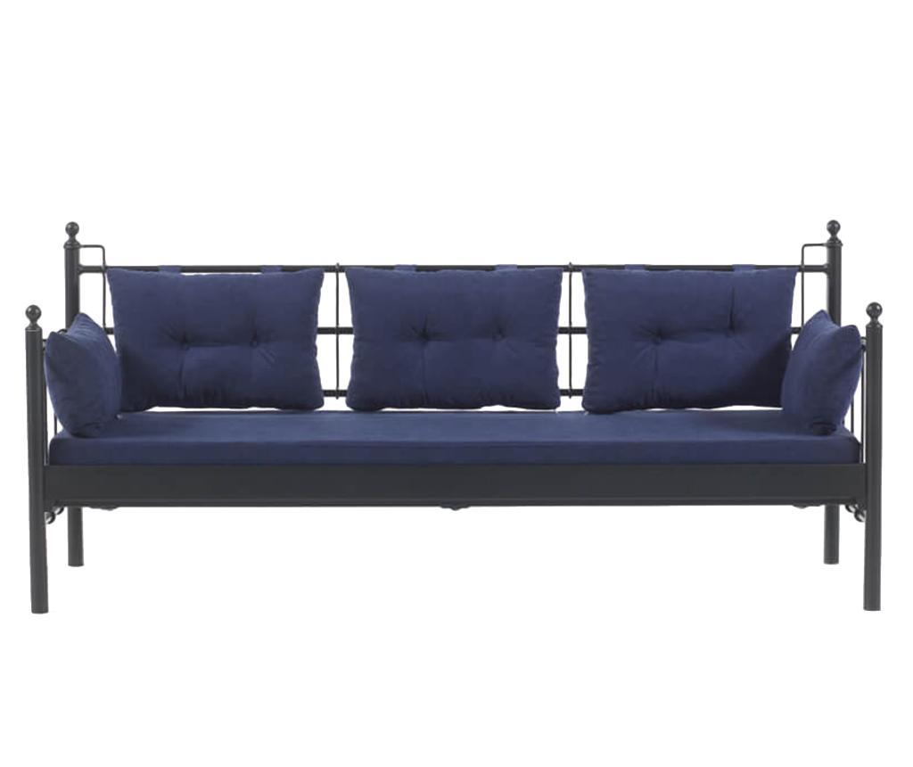 Canapea 3 locuri pentru exterior Lalas Wide Black and Dark Blue