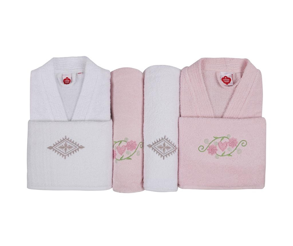 Set textile pentru baie 6 piese His and Hers White and Pink