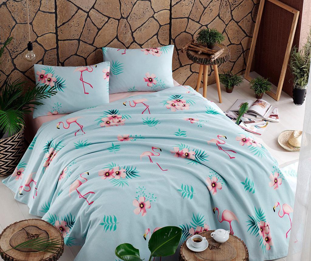 Flamenco Mint Pique ágytakaró 200x235 cm