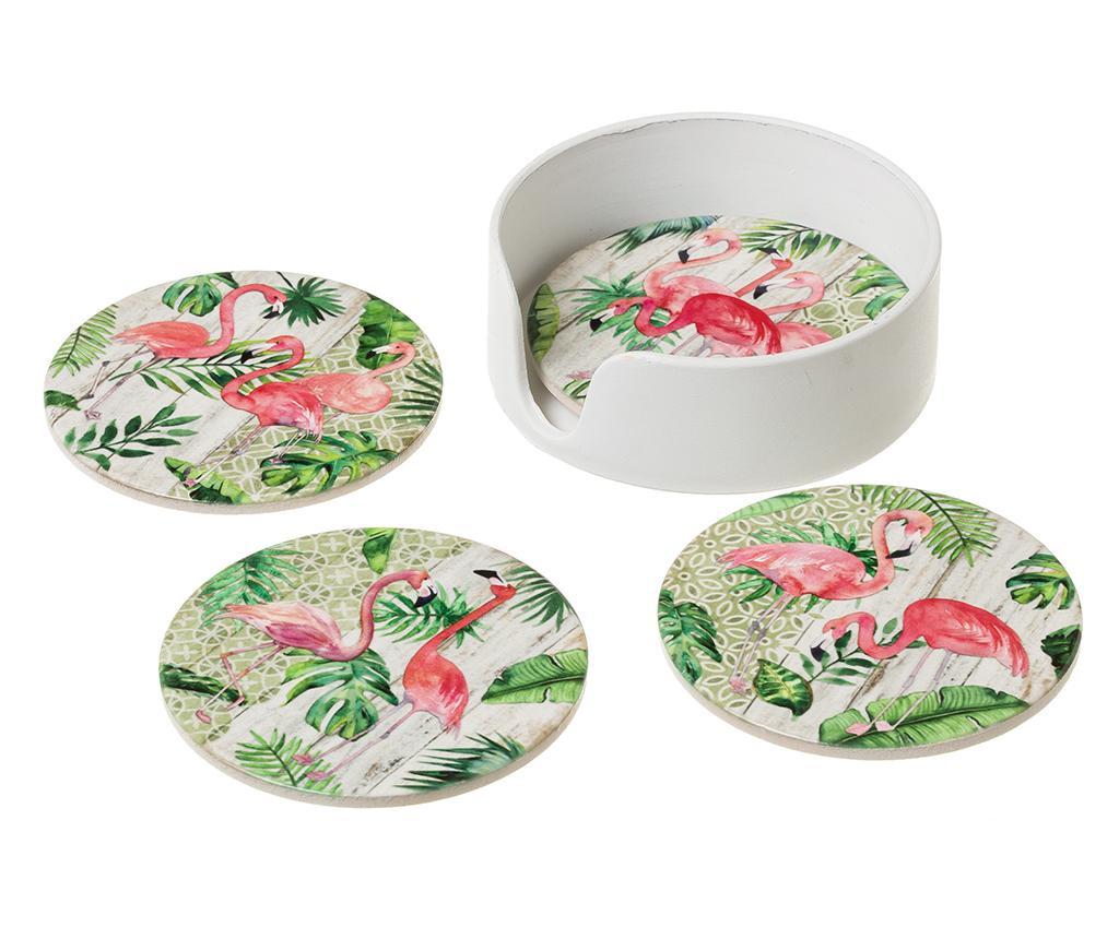 Set 4 podmetača za čaše Flamingo Party