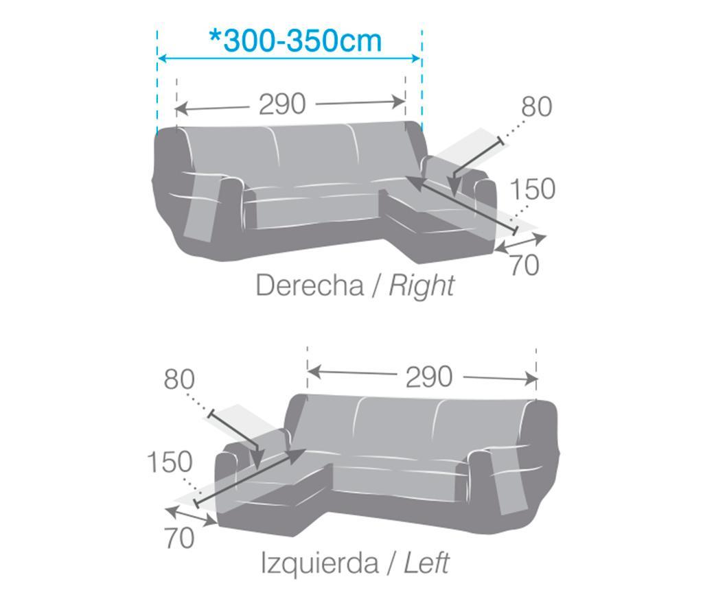 Prošivena navlaka za desnu kutnu garnituru Oslo Dark Grey 290x150x80 cm