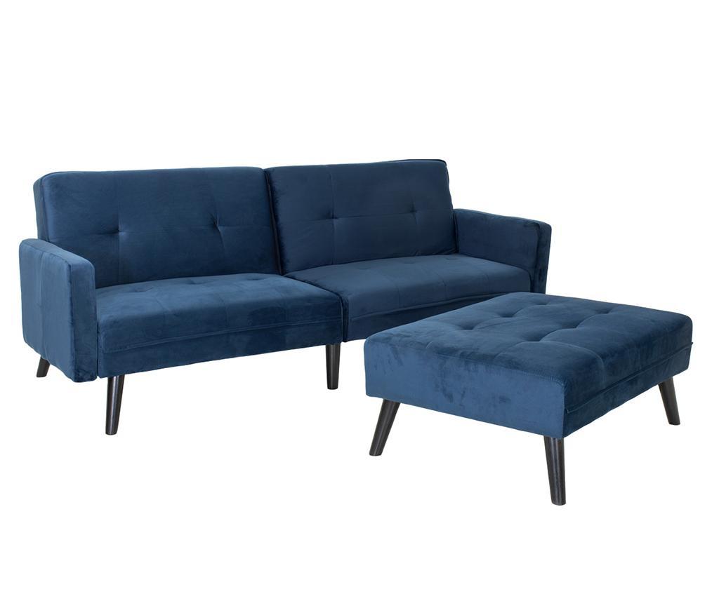 Set kauč na razvlačenje i tabure za noge Dream Blue