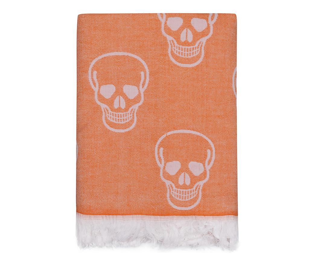 Prosop de plaja Fouta Skull Orange 100x180 cm
