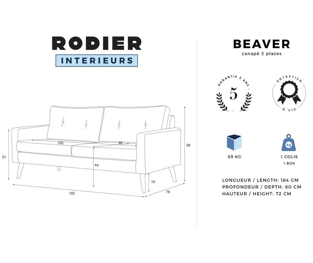 Canapea 3 locuri Beaver Lilac