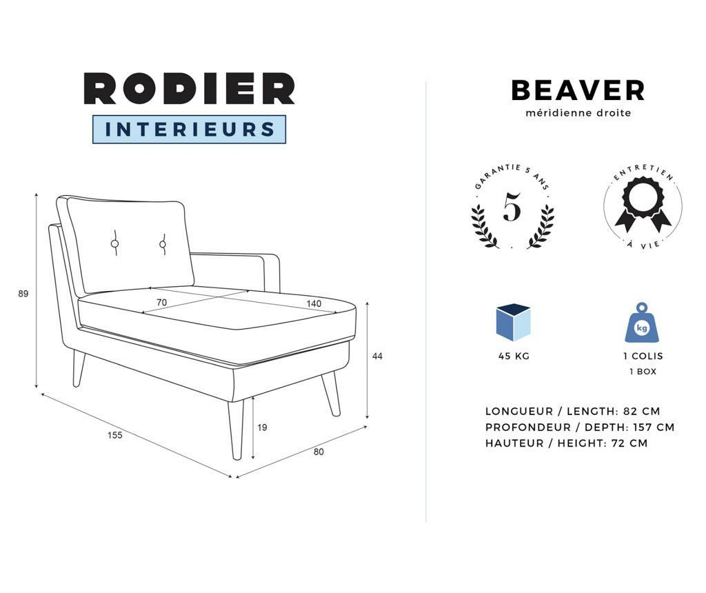 Desna ležaljka za dnevni boravak Beaver Powder Pink