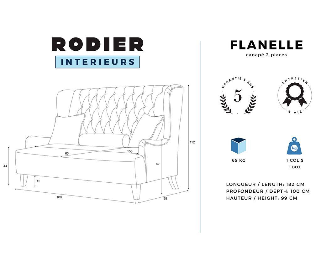 Canapea 2 locuri Flanelle Blue