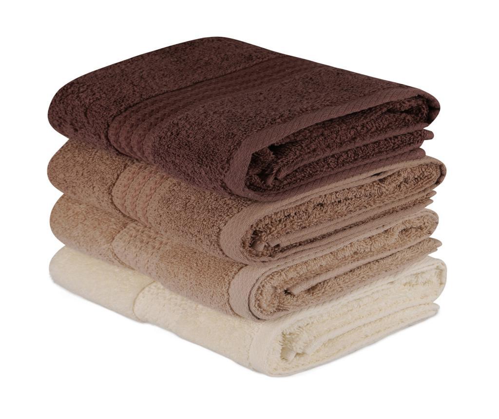 Set 4 kupaonska ručnika Shades Brown 50x90 cm