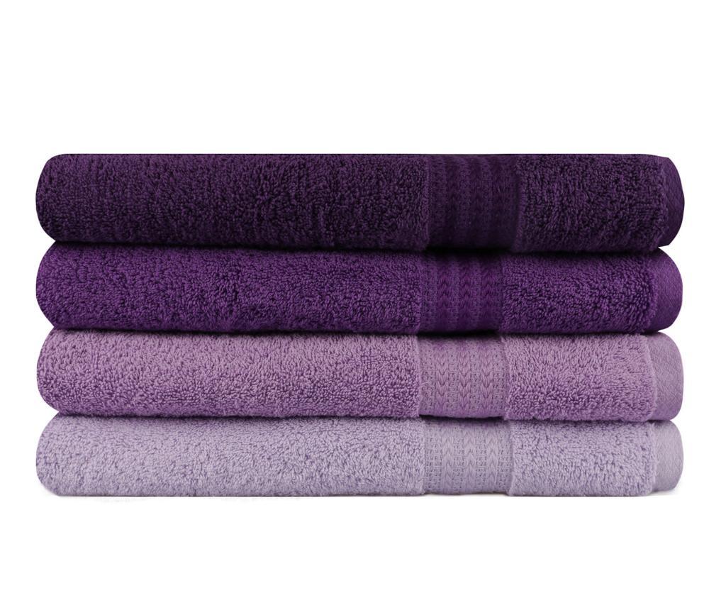 Set 4 kopalniških brisač Rainbow Lilac 70x140 cm