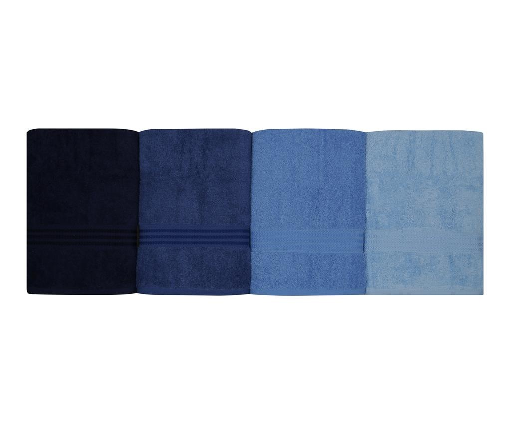 Set 4 prosoape de baie Rainbow Blue 70x140 cm