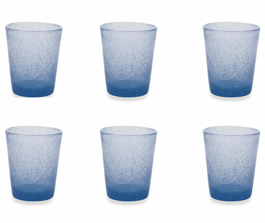 Set 6 pahare pentru apa Cancun Satin Light Blue 330 ml