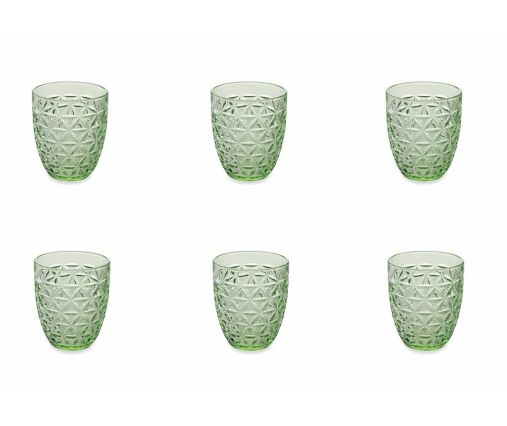 Set 6 pahare pentru apa Gemma Green 337 ml