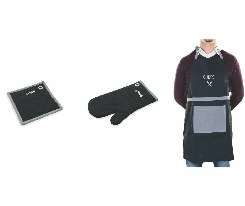 Kомплект кухненска престилка, ръкавица и подложка за горещи съдове Chefs