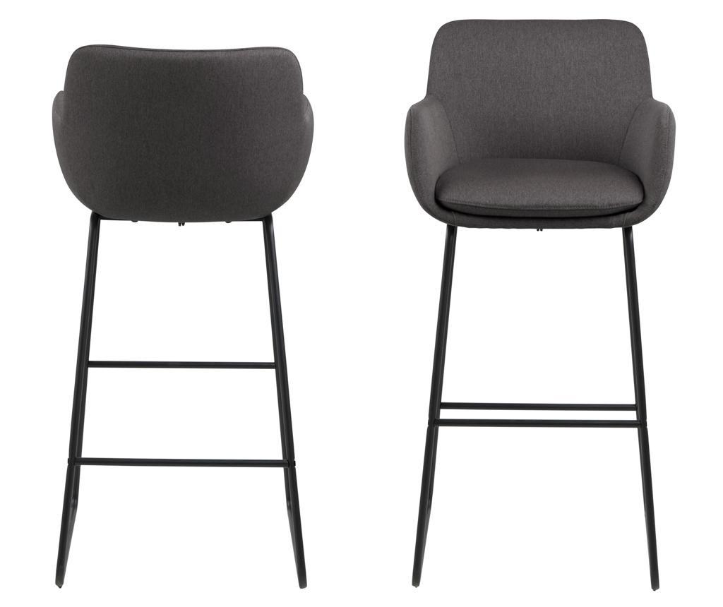 Set 2 barske stolice Lisa Dark Grey