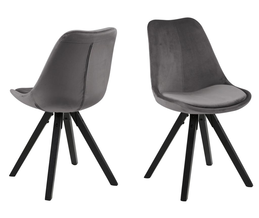 Set 2 scaune Dima Black Grey