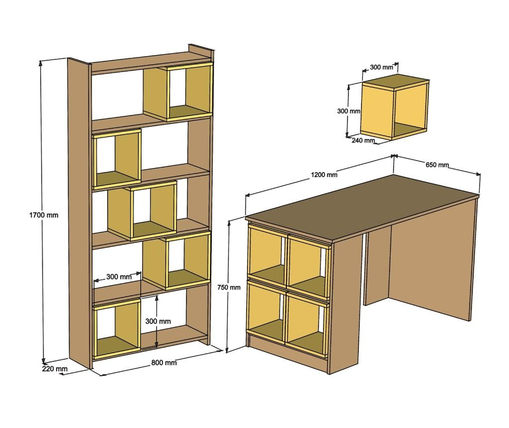 Box White Walnut Íróasztal, könyvespolc és fali polc
