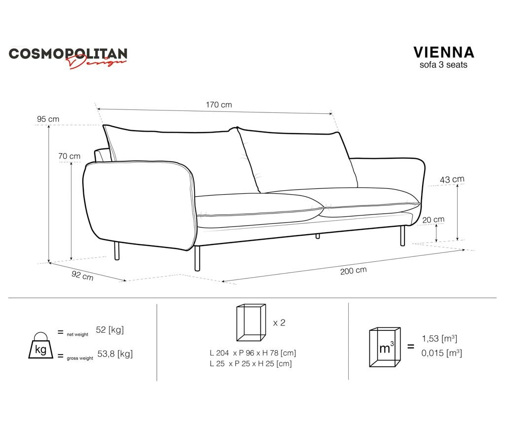 Canapea 3 locuri Vienna Petrol