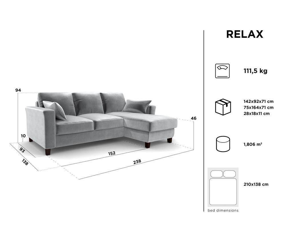 Rozkładany narożnik odwracalny Relax Light Grey