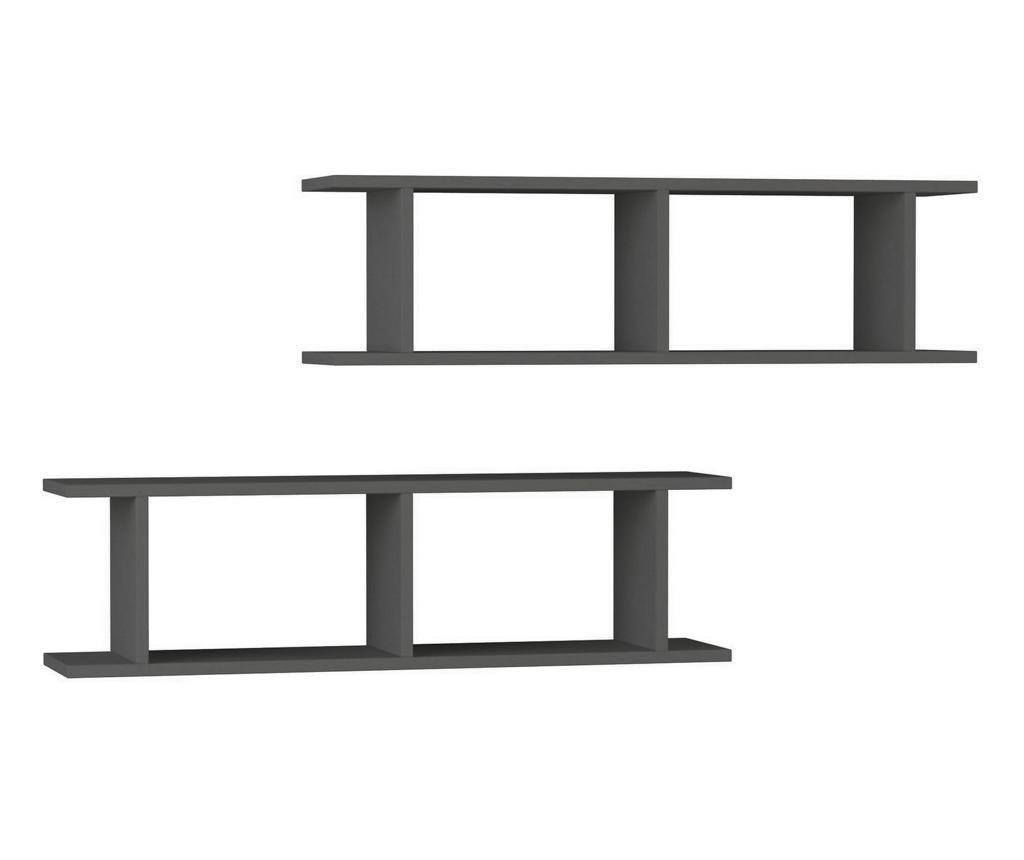 Set 2 rafturi de perete Ray Anthracite