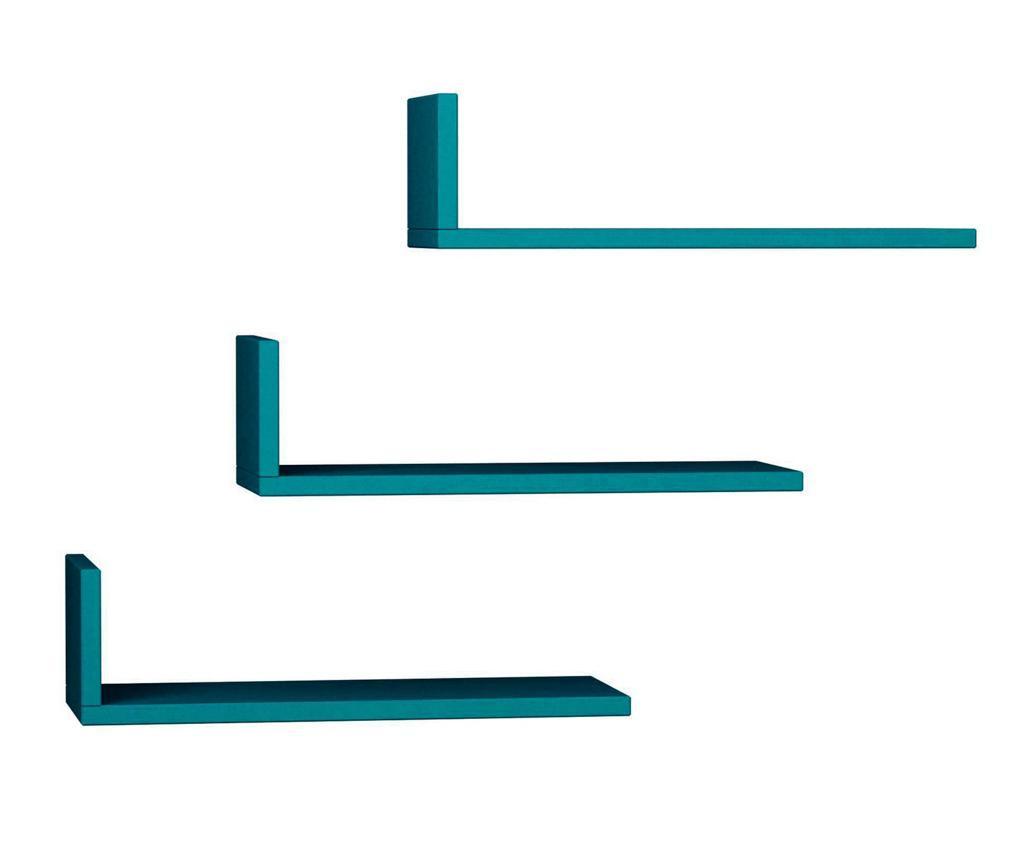Set 3 rafturi de perete Model Turquoise