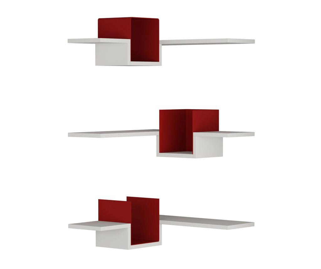 Set 3 rafturi de perete Ales Corner White and Red