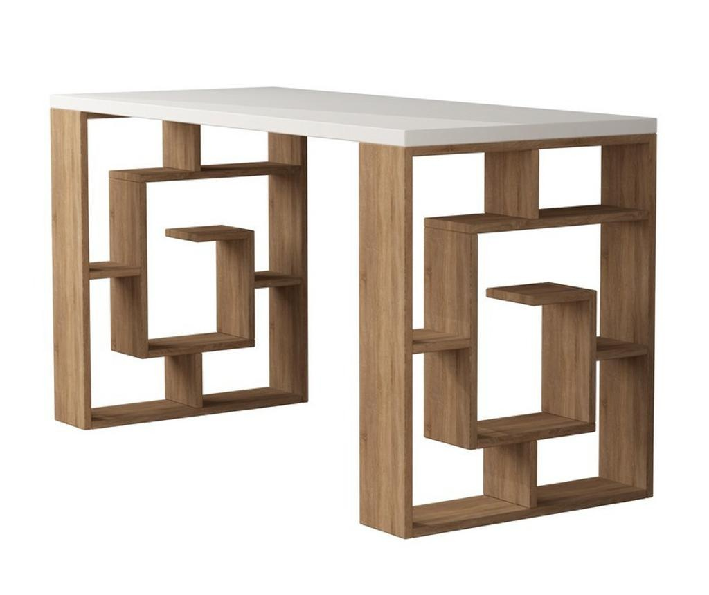 Birou Maze White and Oak