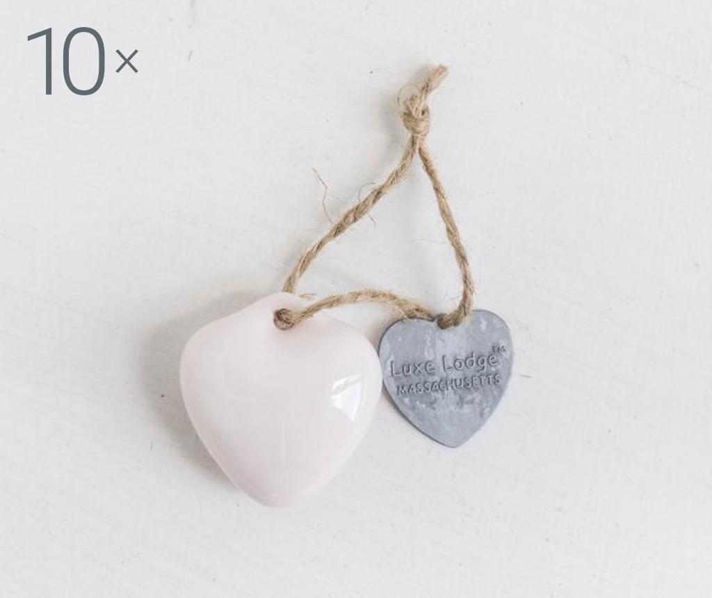 Set 10 visečih dekoracij Heart Pink