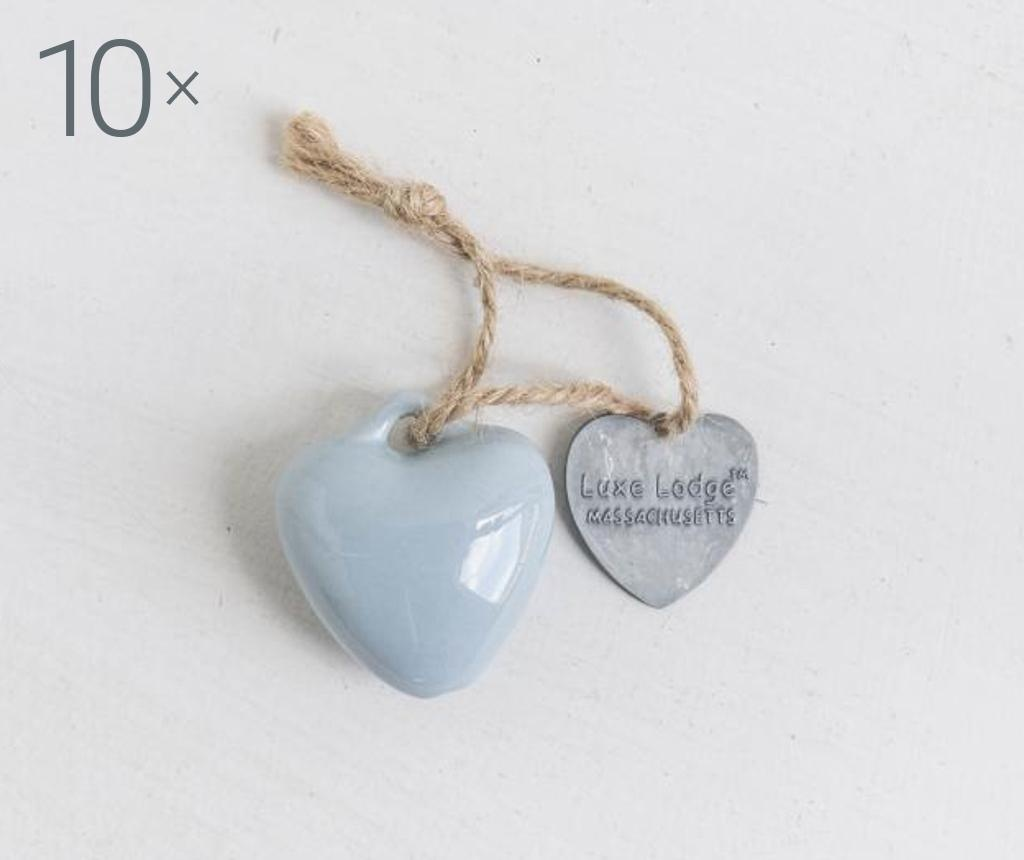 Set 10 decoratiuni suspendabile Heart Light Blue