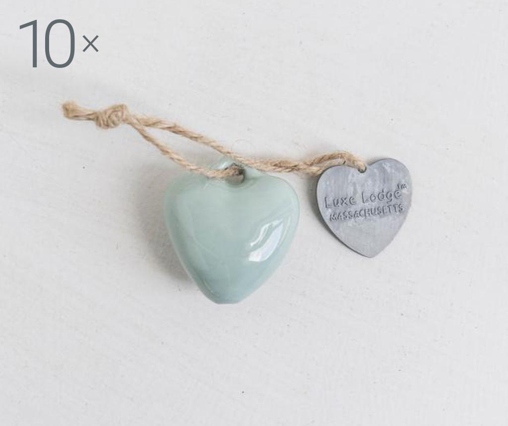 Set 10 visečih dekoracij Heart Mint