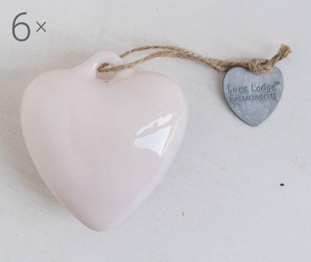 Set 6 decoratiuni suspendabile Heart Pink