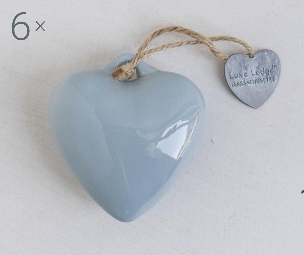 Set 6 decoratiuni suspendabile Heart Light Blue