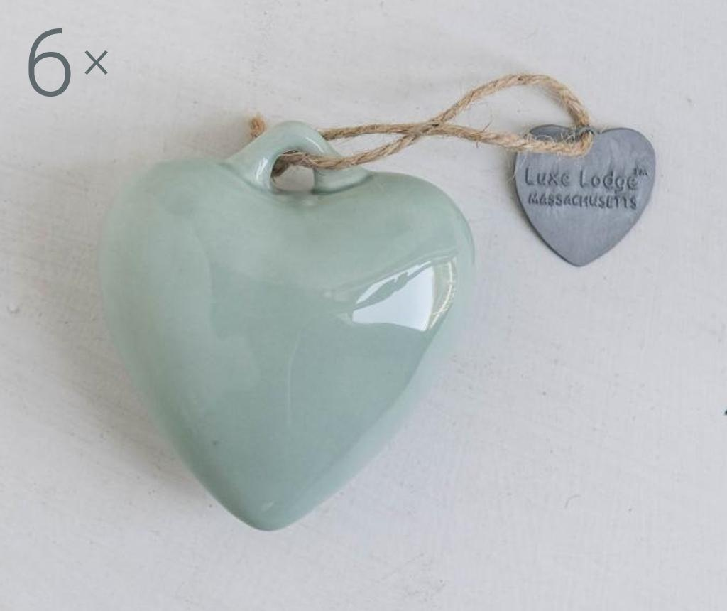 Set 6 decoratiuni suspendabile Heart Mint