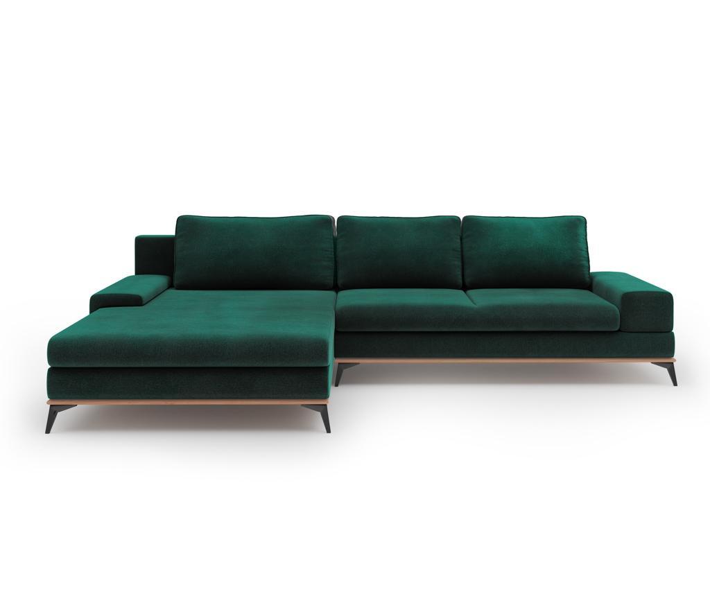 Разтегателен ляв ъглов диван Astre Bottle Green