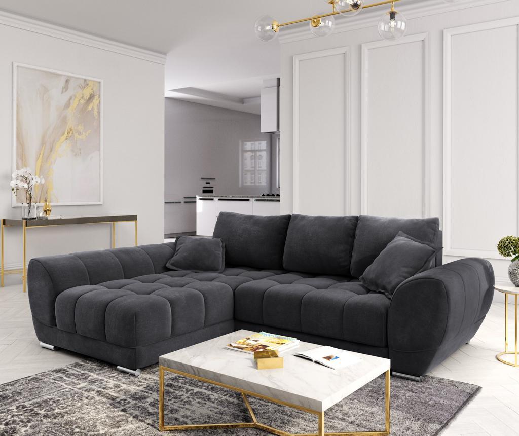 Разтегателен ляв ъглов диван Nuage Dark Grey