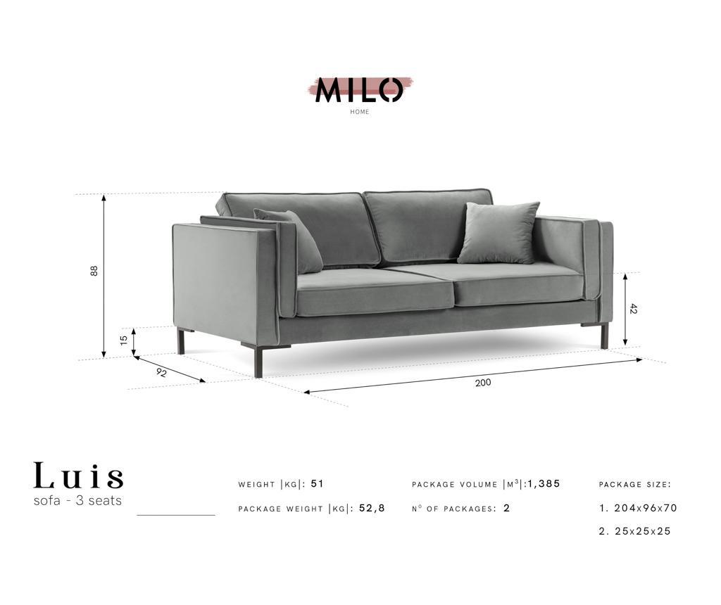 Luis Petrol Háromszemélyes kanapé