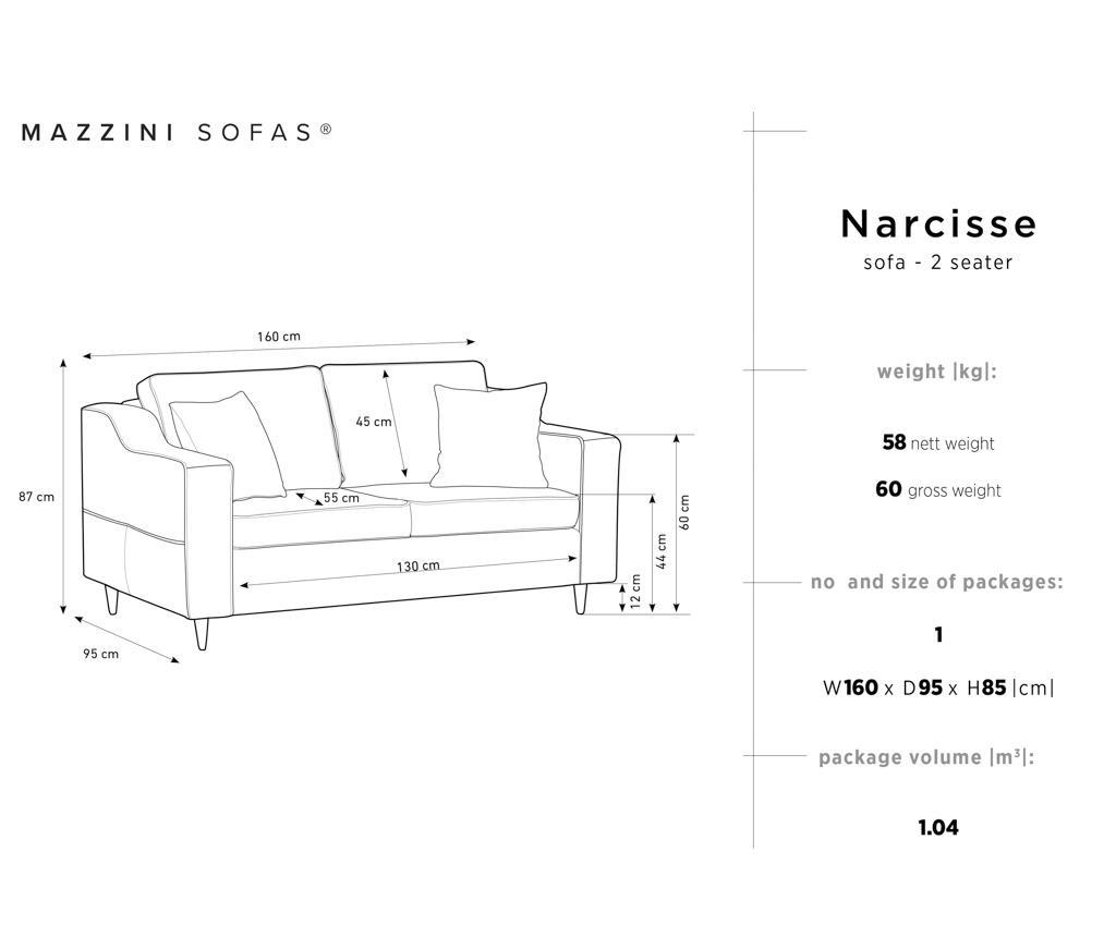 Двуместно канапе Narcisse Grey