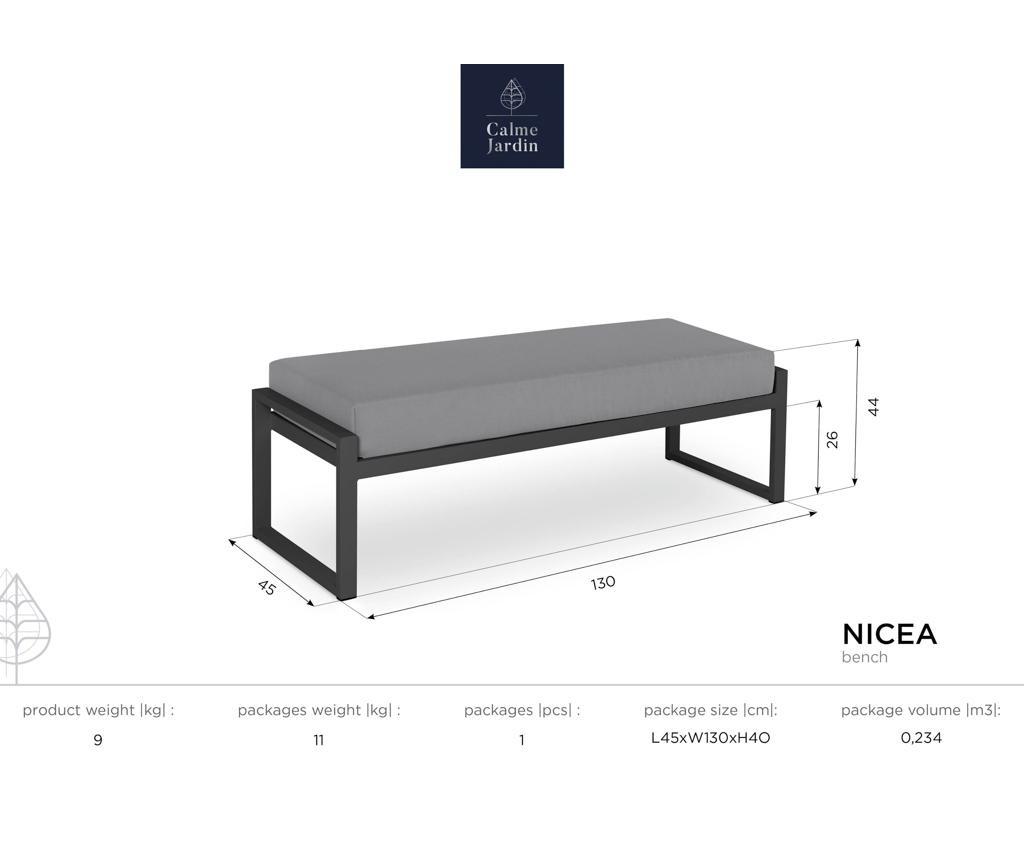 Klupa za vanjski prostor Nicea Grey White
