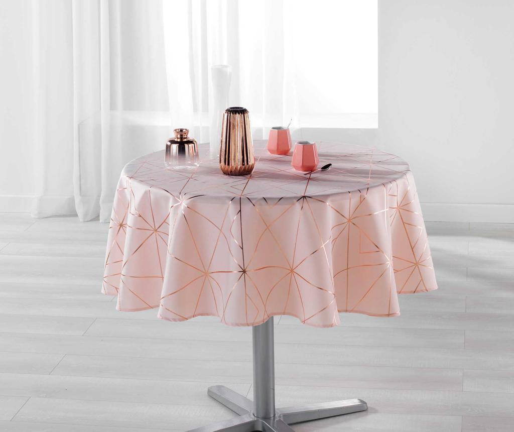 Fata de masa Quadris Round Pink and Rose Gold 180 cm