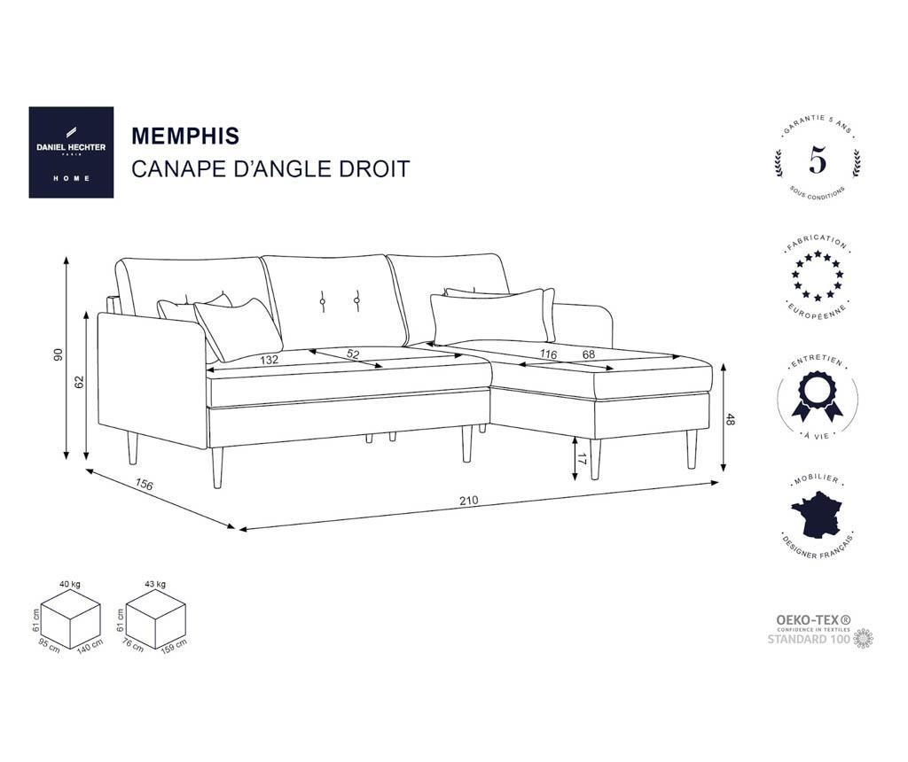 Десен ъглов диван Memphis Light Brown