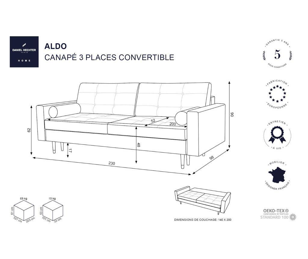 Canapea extensibila 3 locuri Aldo Turquoise