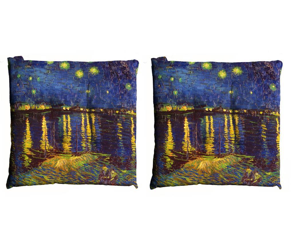 Set 2 jastuka za sjedenje Van Gogh  Notte Sul Rodano 40x40 cm