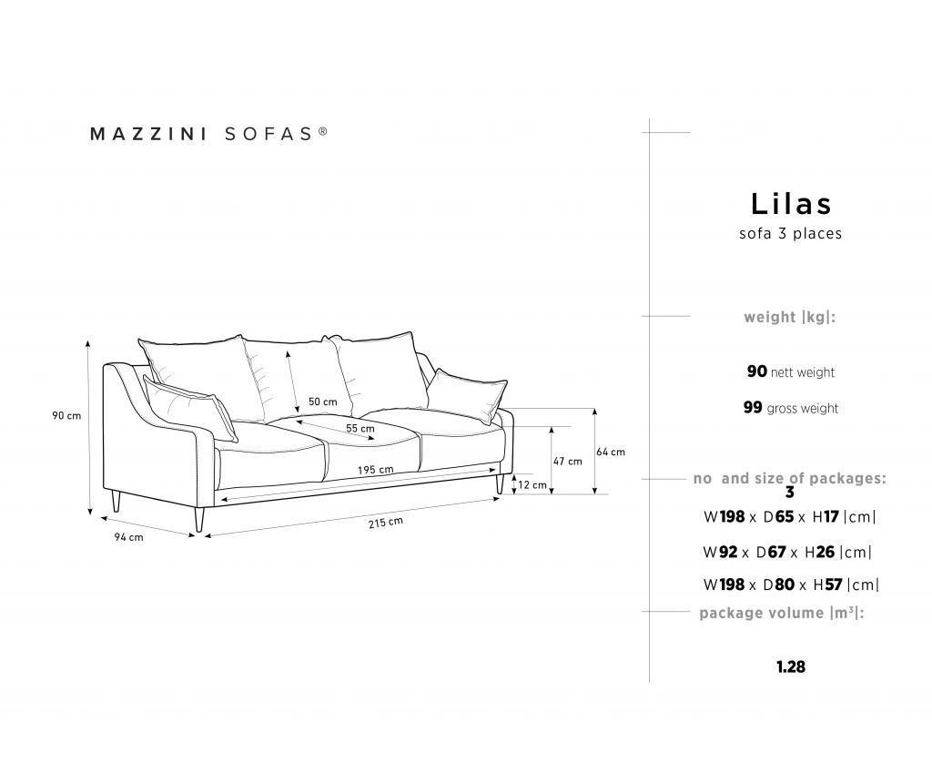 Canapea extensibila 3 locuri Lilas Dark Blue