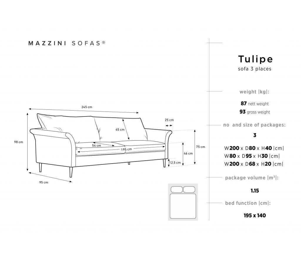Tulipe Bottle Green Kihúzható háromszemélyes kanapé