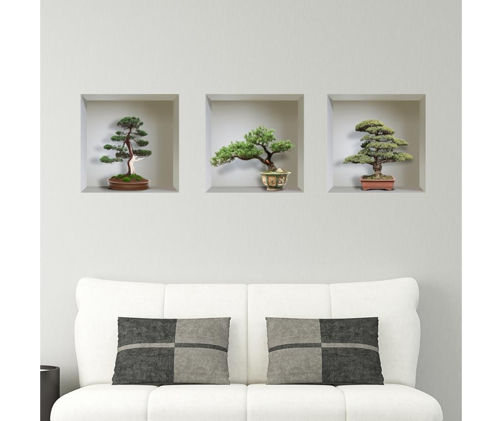 Set 3 stickere 3D Bonsai