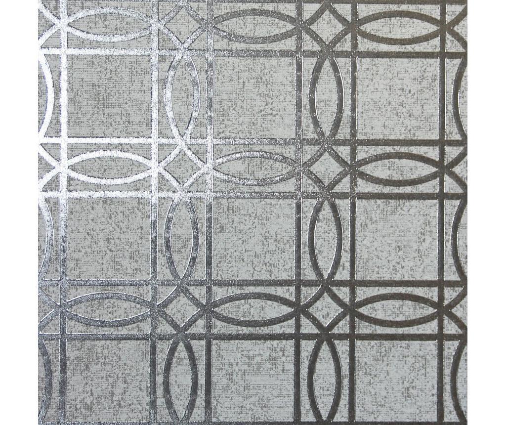 Tapeta Geo Charcoal Grey Kiss Foil 53x1005 cm