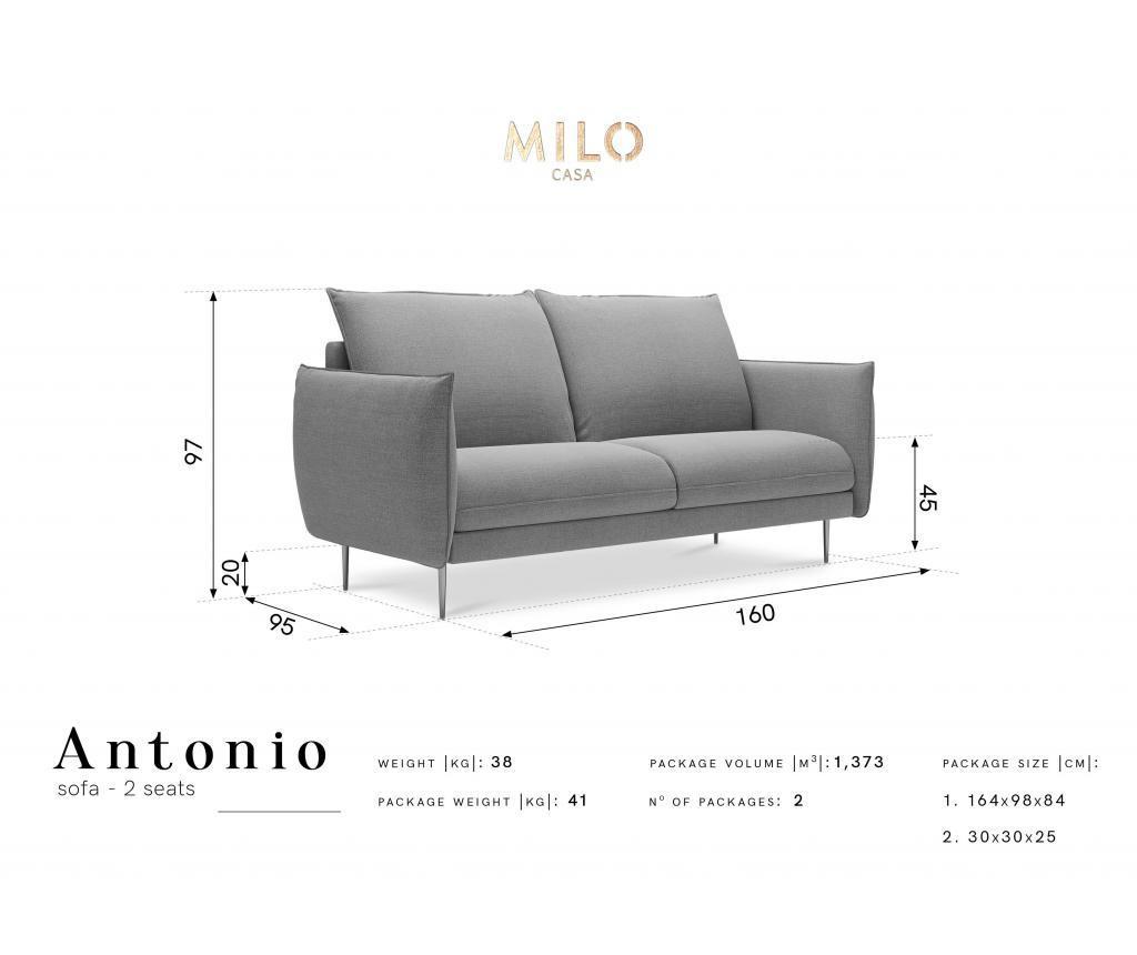 Sofa cu 2 locuri Antonio Bottle Green
