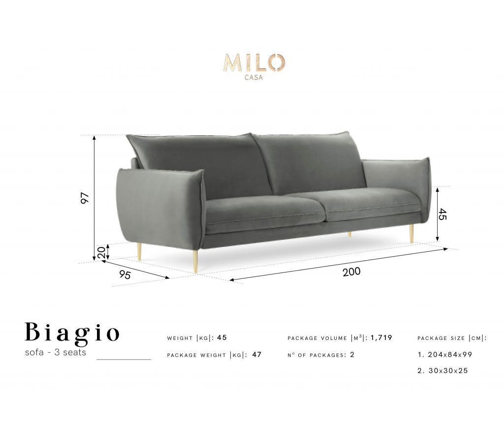 Sofa cu 3 locuri Biagio Dark Blue