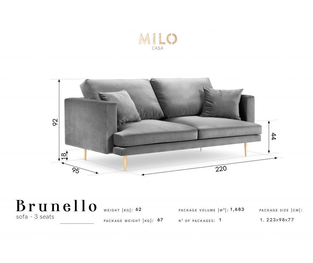 Canapea cu 3 locuri Brunello Royal Blue