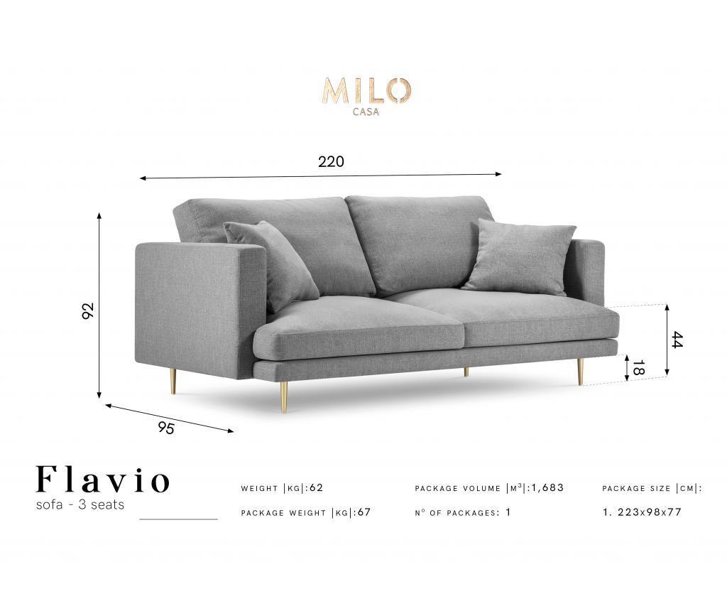 Canapea cu 3 locuri Flavio Light Grey
